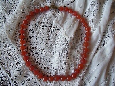 Antique Chinese Carnelian Bead Necklace.