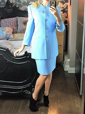 Stunning blue LOUIS FERAUD Ladies Two Piece Suit: Long Jacket & Pencil Skirt. 12
