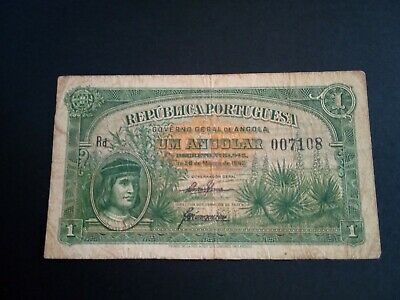 Banknote WW2  1942 Angola. - 1 angola- circulated.