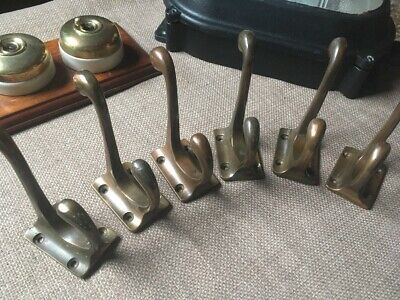 6 Vintage Brass Coat Hooks 100% Original