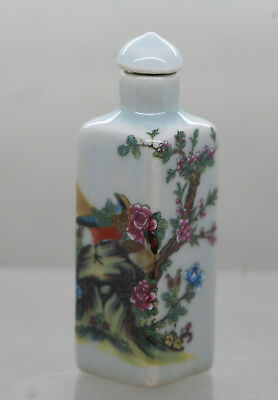 Lovely Chinese Porcelain Snuff Bottle Decorated With Beautiful Birds & Flowers