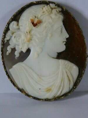 Antique Solid Silver Carved Cameo Brooch