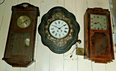 Lot of 3 1920's striking wall clocks for spares including MOP vineyard clock