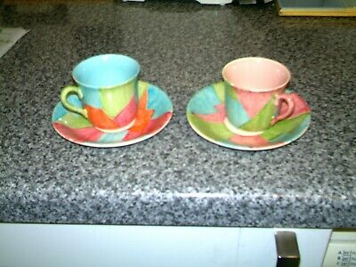Clarice Cliff Coffee Cups And Saucers