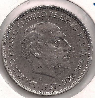 FRANCO. ESCASA moneda de 50 Pesetas PROOF año 1957 en estrella 71