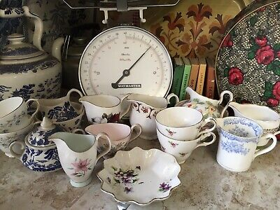 Job Lot of 16 Vintage Mismatched China Cups Sugar Bowls and Creamers Milk Jugs