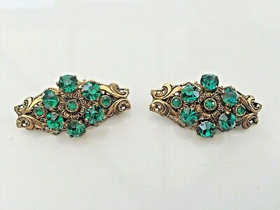 Lovely Pair of Antique Bohemian Green Glass Brooches - Early 20th Century, VGC