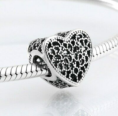 Filled with Romance Heart Charm Sterling Silver Openwork Romance Heart