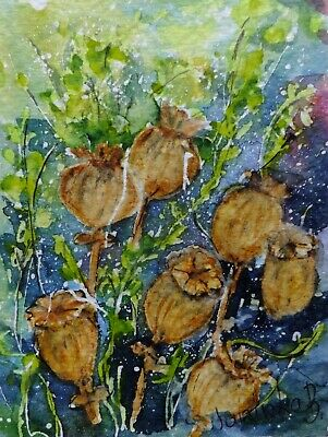 ACEO meadow flowers original watercolor painting cards picture by Europe artist