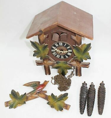 Wooden Two Window Cuckoo Bird Wall Clock House Vintage Home Decor w/Weights