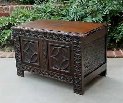 Antique French Oak PETITE Lift Top Chest Blanket Box Table Coffer Basket Weave