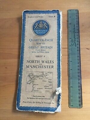 1946 Ordnance Survey Map (Sheet 4) Canvas. NORTH WALES & MANCHESTER. 4th Edition