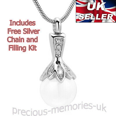 Silver Cremation Ashes Necklace Funeral Memorial Jewellery Keepsake Urn Pendant