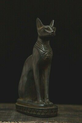 EGYPTIAN BASTET STATUE ANTIQUE Goddess CAT Bast Bastet Stone Carved Black Stone