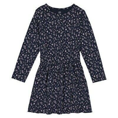 LA REDOUTE GIRLS PRINTED JERSEY DRESS NAVY AGE 8 YEARS NEW (ref 821)