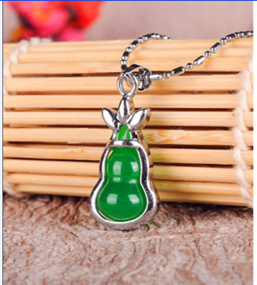 100% Natural Hand-carved Chinese green Jade pendant Gourd Silver carving