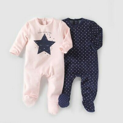 LA REDOUTE BABY GIRLS PACK OF 2 VELOUR SLEEPSUITS AGE 9 MONTHS NEW (ref 302)
