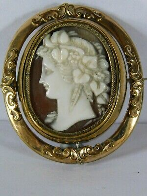 Antique Carved Cameo Brooch