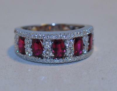 Diamond And Ruby Band In 18Kt White Gold-Exquisite