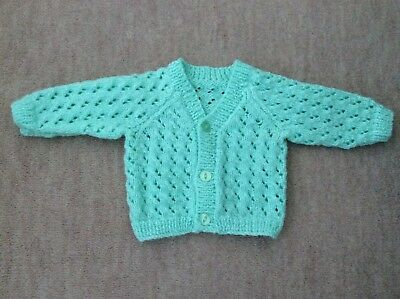 Green Hand Knitted Baby Cardigan