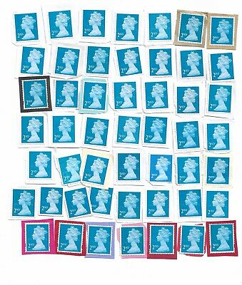 50 x Second 2nd Class BLUE Security Unfranked Stamps ON Paper GB