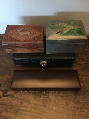 Job Lot 4 x Assorted Wooden Boxes, Watch Box, Jewellery Box Etc