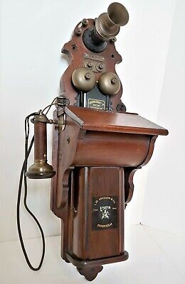 Rare 1895 Ericsson Pulpit Wood Crank Wall Phone With Outside Terminal Receiver