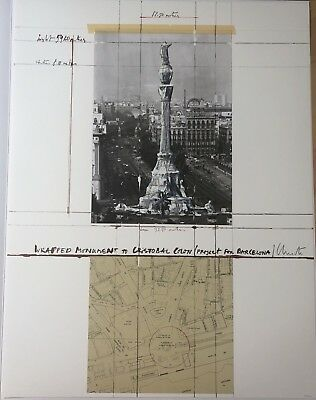 CHRISTO * Wrapped monument, project for Barcelona * 1992 * Collage