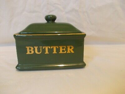 Vintage Premier Housewares Green Rectangle Butter Dish With Lid