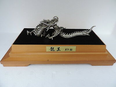 Spectacular Signed Solid Silver Dragon Ryu Sculpture Japanese Traditional Craft