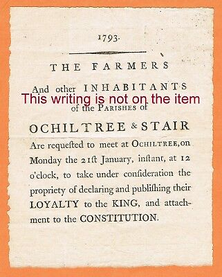 GB Scotland 1793 Ochiltree and Stair loyalty proclamation notice