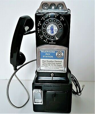 Working Vintage Automatic Electric 3 Slot Coin Payphone Telephone Pay Phone