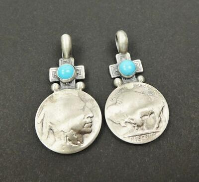 Southwestern Sterling Silver Turquoise Vintage Buffalo Nickel Coin Pendant Cross