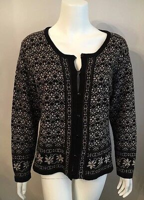 Stunning Field Manor Black Beige Cardigan Sweater Long Sleeve Size L
