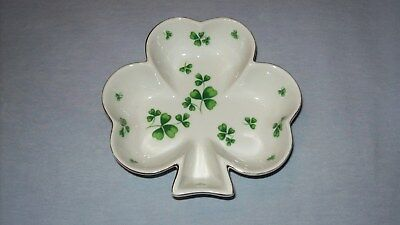 Vintage Irish Shamrock Lefton China Dish - Gold Trim - 02636