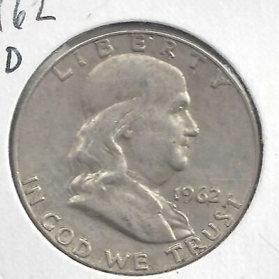 1962 D Franklin half dollar Nice Circulated U.S. 90% silver coin
