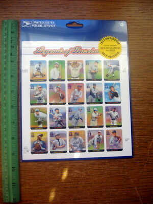 'New' Sheet of 20 Sc# 3408 Legends of Baseball Stamps 2000 Ruth Gehrig+ MNHVF Ex