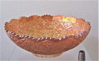 VINTAGE Imperial HATTIE Pattern 496 CARNIVAL GLASS Bowl - MARIGOLD
