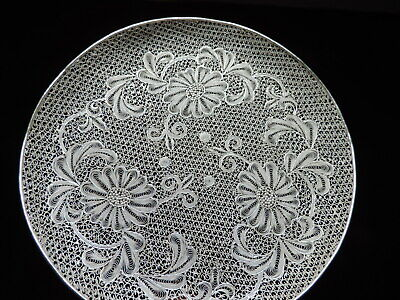 MUSEUM ANTIQUE SIGNED JAPANESE STERLING SILVER FILIGREE DISH TRAY 149 gr 5.2 OZ