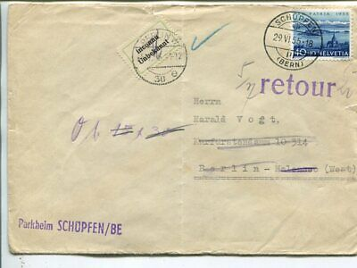 Switzerland Pro Patria 40c on cover to Germant 1955, returned with many marks