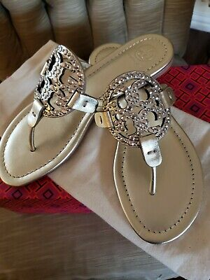a66a368574afd5 TORY BURCH MILLER EMBELLISHED SANDAL GOLD LEATHER Sz 7.5 REG. 228. SALE  180.00