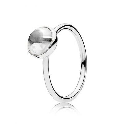 a4e90bf32 GENUINE PANDORA SILVER White Stone April Ring Size 50 ALE 926 ...