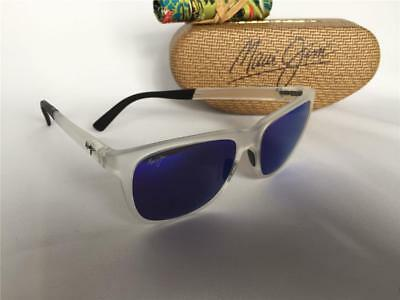 08b1f692a3ad5 New Maui Jim TAIL SLIDE Polarized Sunglasses Frosted Crystal Blue 740-05CM  Glass