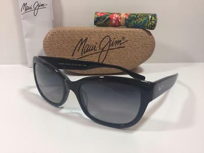 23a0c1466a76 New Maui Jim Plumeria Polarized Sunglasses GS768-02 Black Gray Authentic