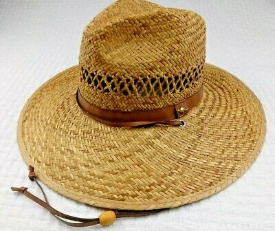 086e8de6 New Dorfman Pacific Rush Straw Lightweight Gambler Hat Wide Brim Chin Cord  A33