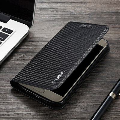 Magnetic Carbon Leather Flip Wallet Phone Case Cover for Samsung S8 S9 S7