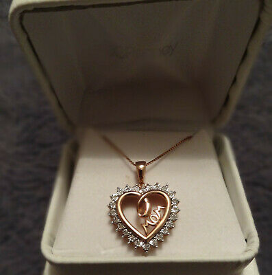 """1/10 TCW Diamond Heart Mom Pendant Rose GOLD-PLATED Sterling Silver w/18"""" chain"""