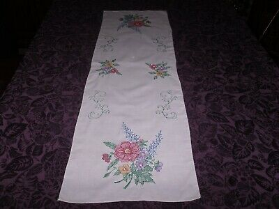 Finished Completed Embroidery Dresser Scarf Table Runner - Flowers - lovely