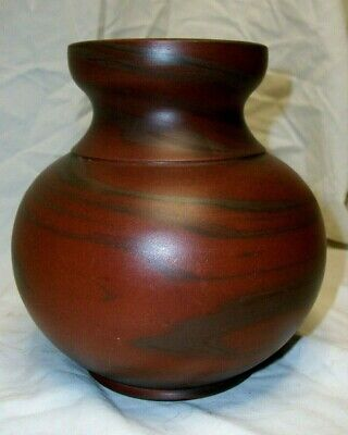 """NILOAK 5 1/4"""" Bulbous Two Color Red & Brown Vase W/ First Art Mark - MINT!"""