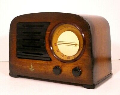 Old Antique Wood Emerson Vintage Tube Radio -Restored Working Art Deco Table Top